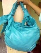 pojemna torebka lazurowa