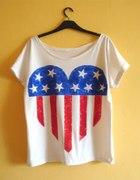biały oversize z mega sercem z flagą USA