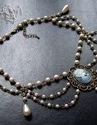 Gotycki naszyjnik KOLIA Z PEREŁ perły KAMEA retro
