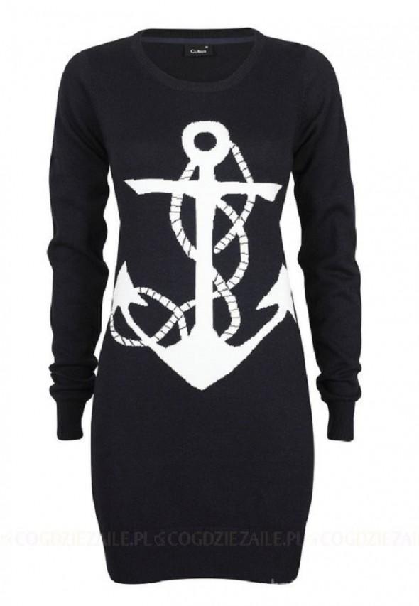 Granatowy sweter z kotwicą Cubus