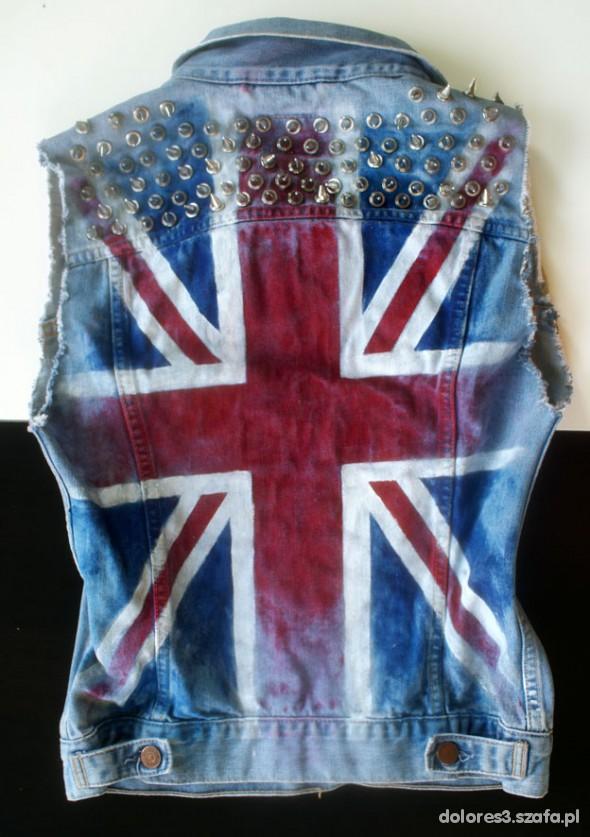 Kamizelki kamizelka jeansowa z flagą Anglii punk rock ćwieki