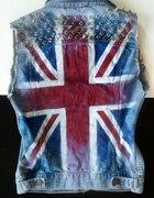 kamizelka jeansowa z flagą Anglii punk rock ćwieki