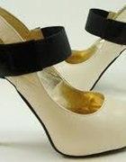 Platformy czarne ecru LUX Coco Chanel r 37