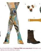 Modna stylizacja jesienna z kolorowymi rajstopami...