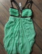 sukienka LIPSY miętowa ZIP 36 S