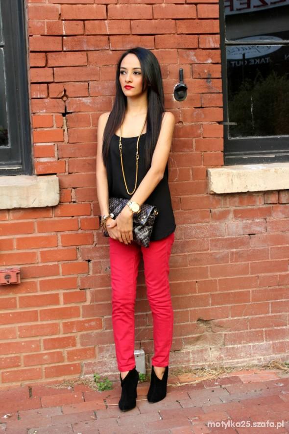 Wieczorowe Czerwone spodnie