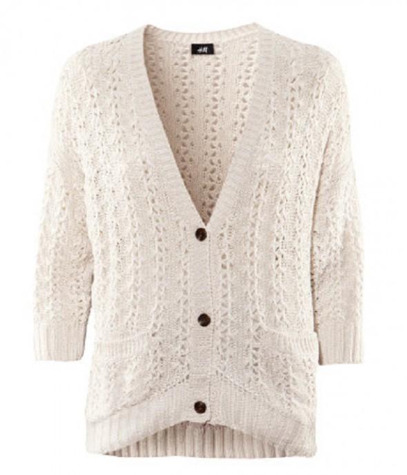 Biały ecri dzianinowy sweter rozpinany H&M...