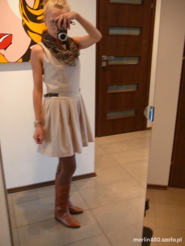 Mój styl kremowa sukienka