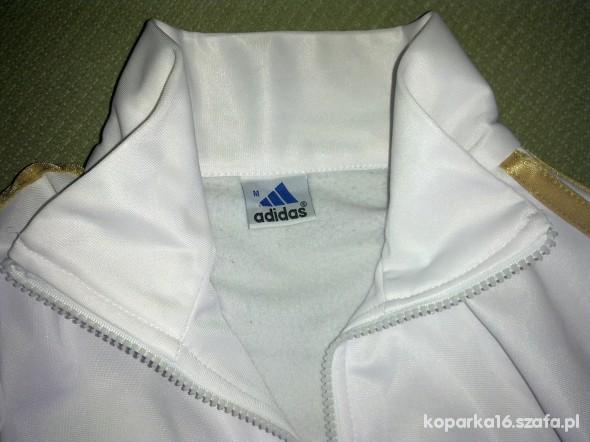 Biała bluza adidas ze złotymi paskami M w Bluzy Szafa.pl