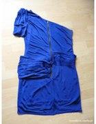 chabrowa sukienka na jedno ramie zip...