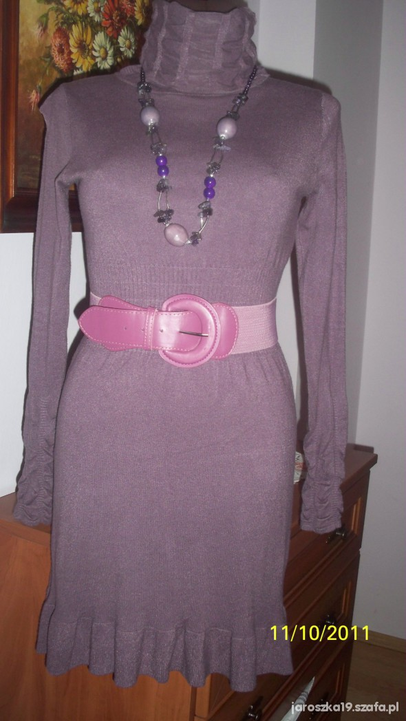 Nowa Fioletowa sukienka pasek i najszyjnik gratis