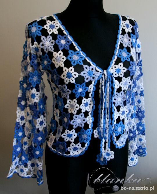 Sweter z frywolitkowych kwiatów...