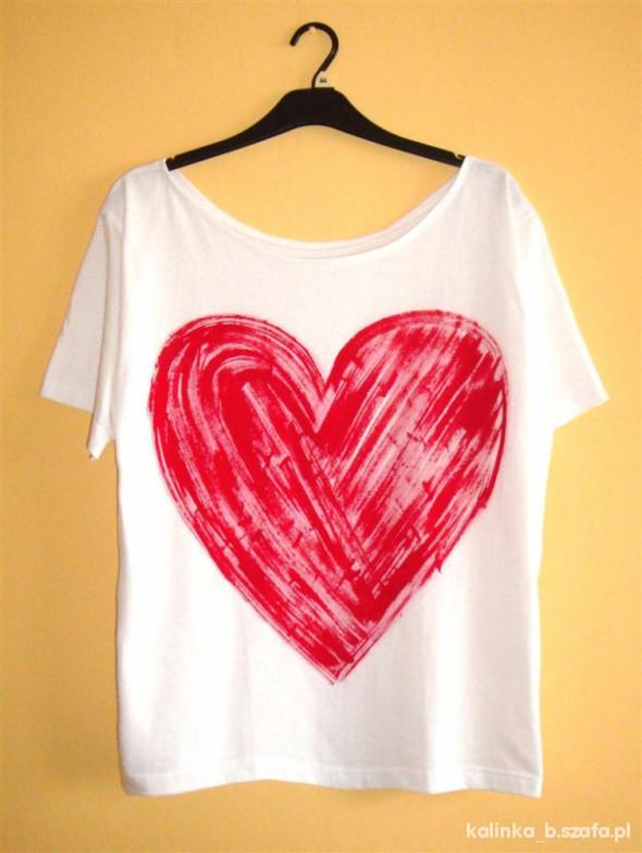 Koszulki biały off shoulder OVERSIZE czerwone mega serce