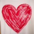 biały off shoulder OVERSIZE czerwone mega serce