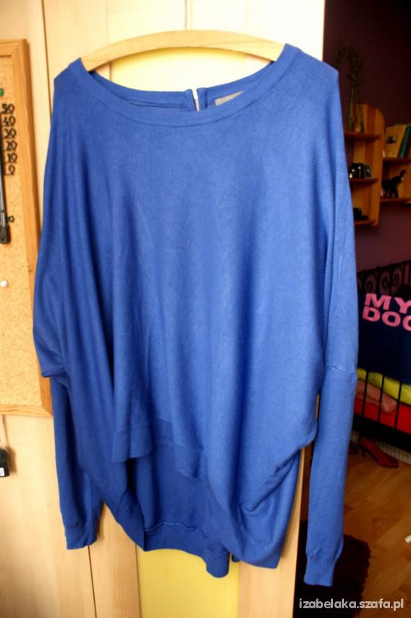 Sweter Oversize motyl ZIP kobalt
