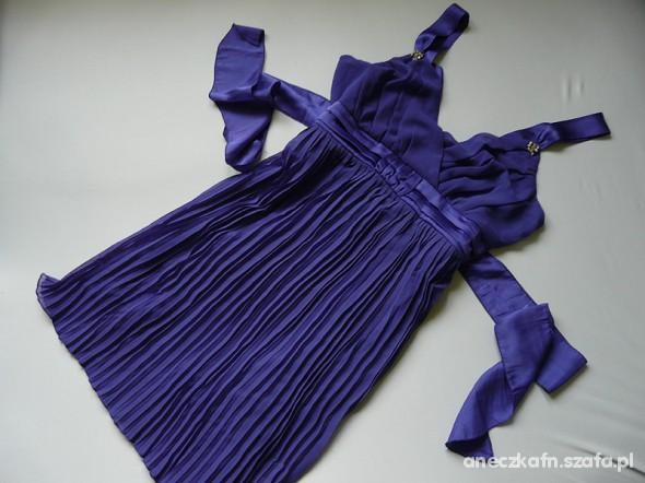 Suknie i sukienki Chabrowa Sukienka 42 44 Elegancka Plisowana