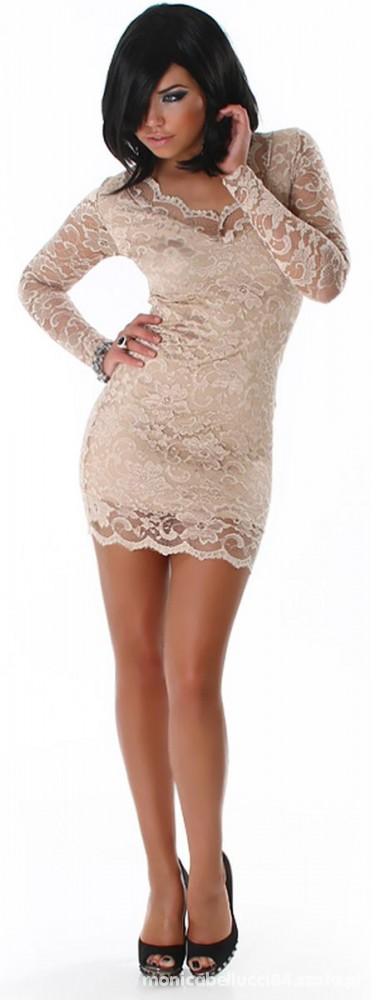 beżowa koronkowa sukienka