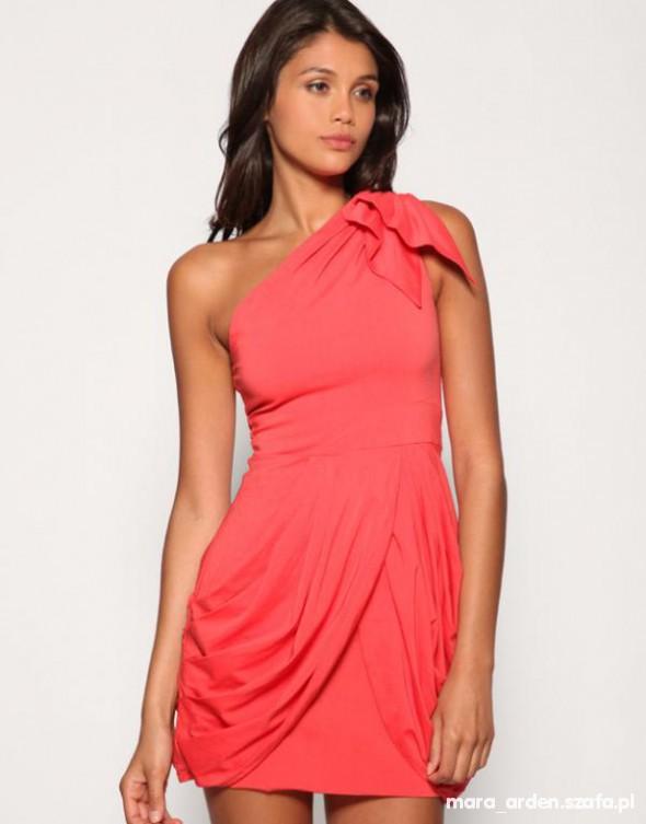 Suknie i sukienki ASOS Tfnc sukienka KORALOWA KORAL grecka ramie S M