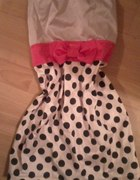 sukienka grochy kokardka...