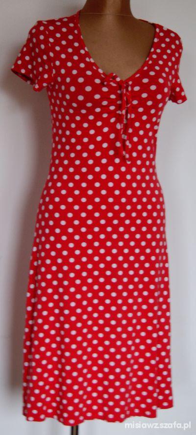 5878977d Czerwona sukienka w białe groszki roz 40 w Suknie i sukienki - Szafa.pl