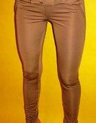 Spodnie legginsy brąz beż...