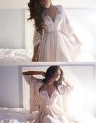 Pudrowa sukienka H&M