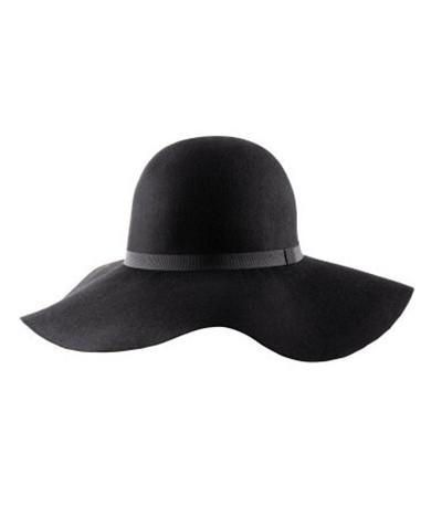 Wełniany czarny kapelusz z dużym rondem H&M