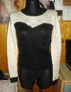 h&m sweterek czarno biały