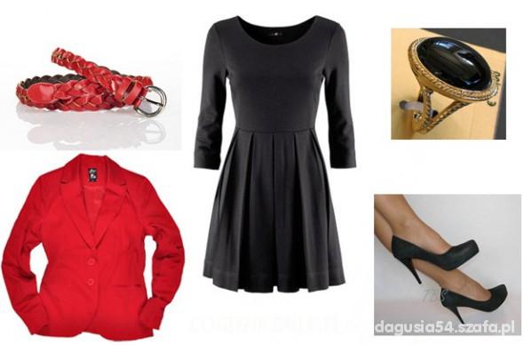Na specjalne okazje Rozkloszowana Sukienka i czerwone dodatki