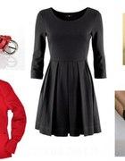 Rozkloszowana Sukienka i czerwone dodatki...