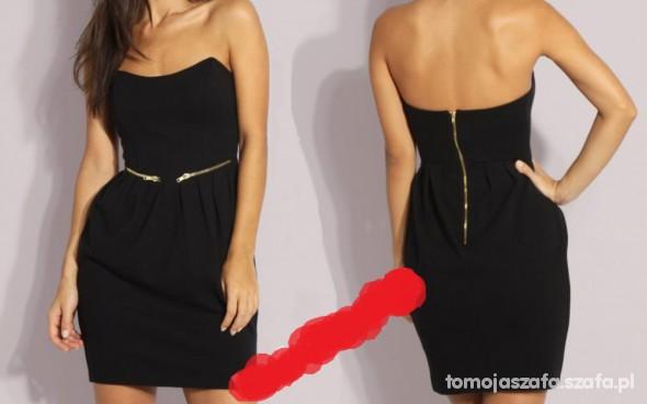Suknie i sukienki Sukienka czarna zip tulipan z gorsetem