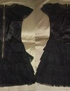 Ekstra modna falbanki zamek czarna mini