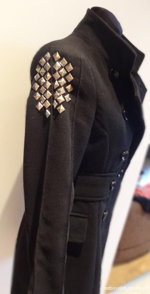 czarny ĆWIEKI płaszcz stójka dwurzędowy w Odzież wierzchnia