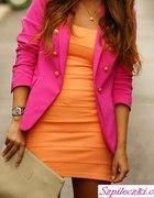 sukienka pomarańczowa bandage zippy różowy żakiet