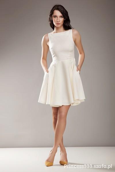872f439e86 Suknie i sukienki PIĘKNA KREMOWA SUKIENKA NIFE ROZMIAR 36 STUDNIÓWKA