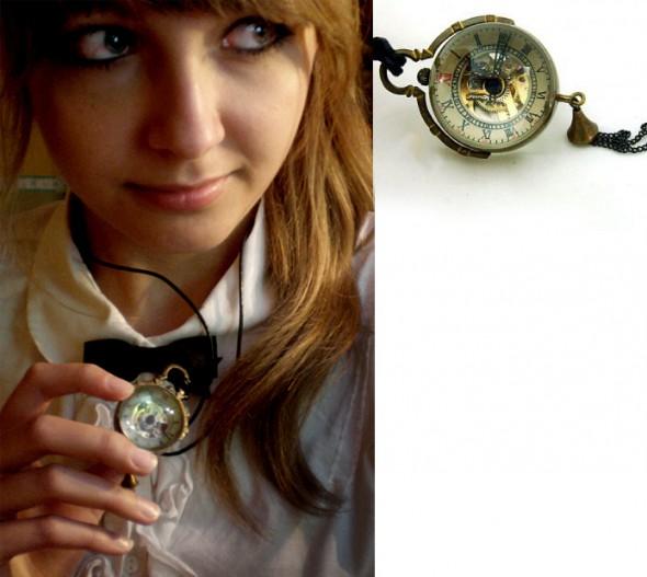 Steampunkowy zegarek na szyję