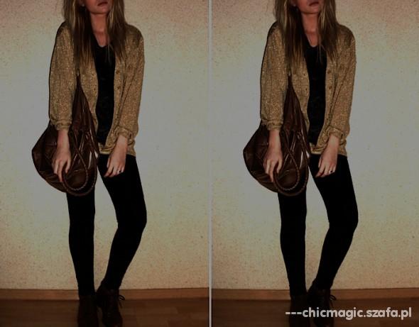 Swetry złoty sweter cardigan chicmagic blog BERSHKA ZARA
