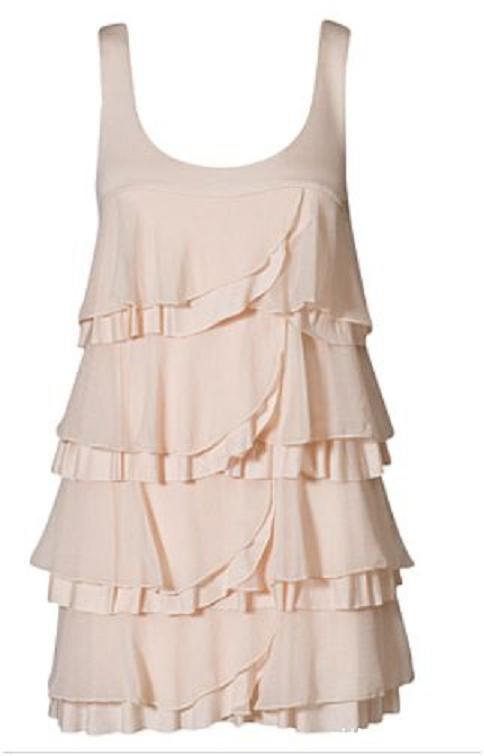 Sukienka tunika falbanki H&M łososiowa S