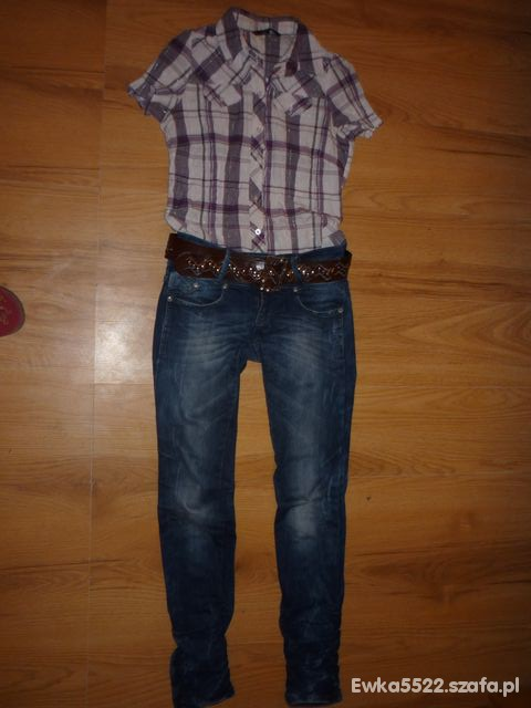 Codzienne Spodnie marmurki koszula fioletowa w kratkę