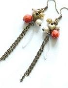 Kolczyki orange stare złoto perełki