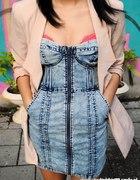 H&M jeansowa marmurkowa zip r 38 40