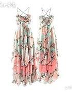 Long dress Giselle H&M długa pastelowa sukienka XL