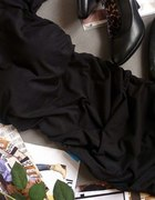 czarna gładka sukienka tunika marszczona uniwersal