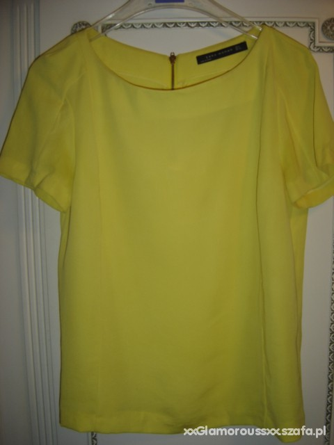 Bluzka Zara zip zółta neon Kasia Tusk