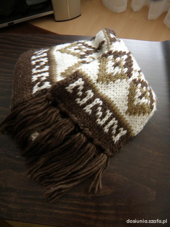 Chusty i apaszki brązowo kremowy szal długi i gruby