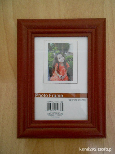 Pozostałe Czerwona bordowa drewniana ramka na zdj 10 na15