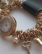 zegarek bransoletka złota charms zawieszki opia