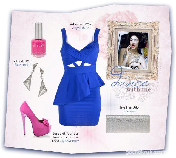 Wieczorowe zestaw z kobaltową sukienką