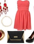 Stylizacja z malinową sukienką