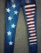 Spodnie Jeansy Flaga USA